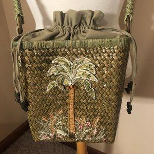Cappelli Strawworld Green Palm Tree Drawstring Bag